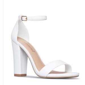 White strap heel